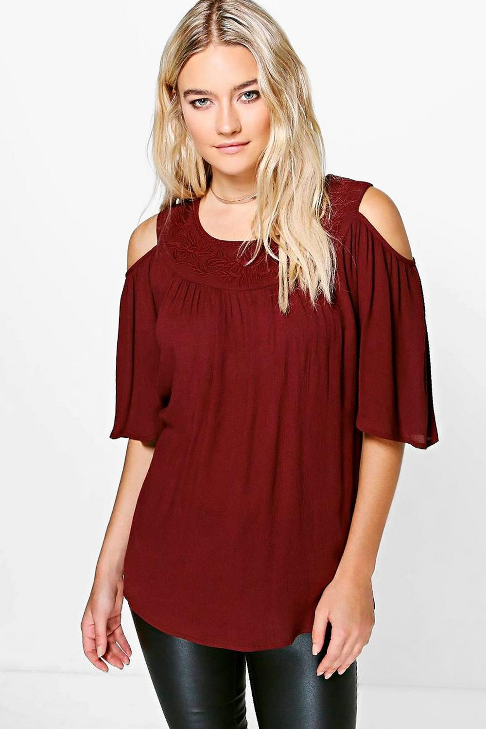 Lara Embroidered Neck Trim Cold Shoulder Top