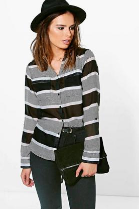 Tina Striped Pocket Shirt