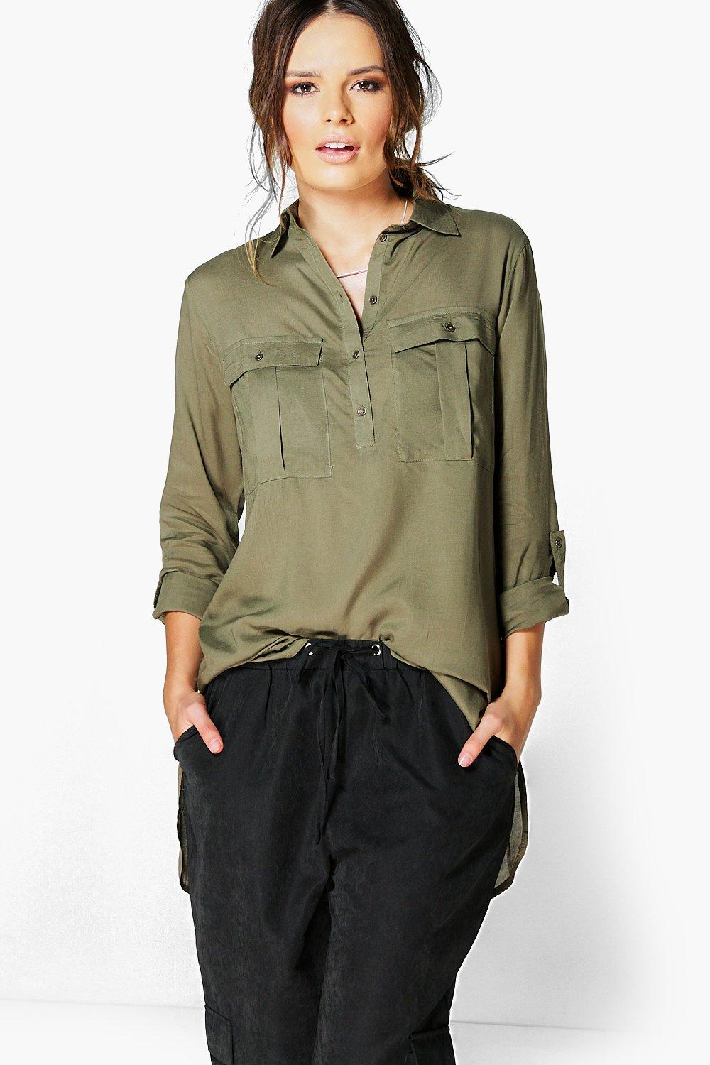 Sasha Half Placket Utility Shirt