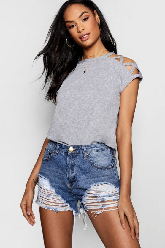 Strappy Shoulder Detail T-Shirt