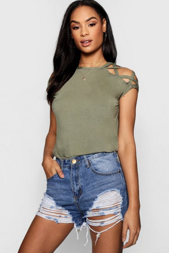 Megan Strappy Shoulder Detail T-Shirt