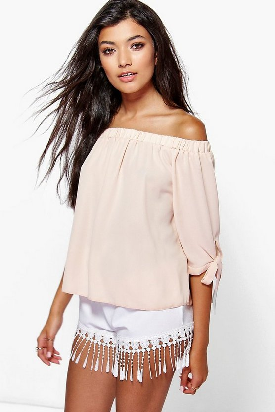 Collette Tie Sleeve Woven Bardot Top