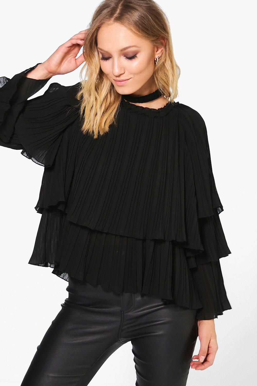 Amanda Pleated Frill Blouse