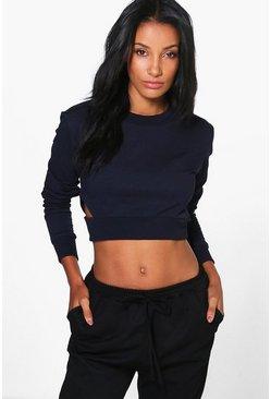 Molly Cut Out Side Longsleeve Crop Sweatshirt