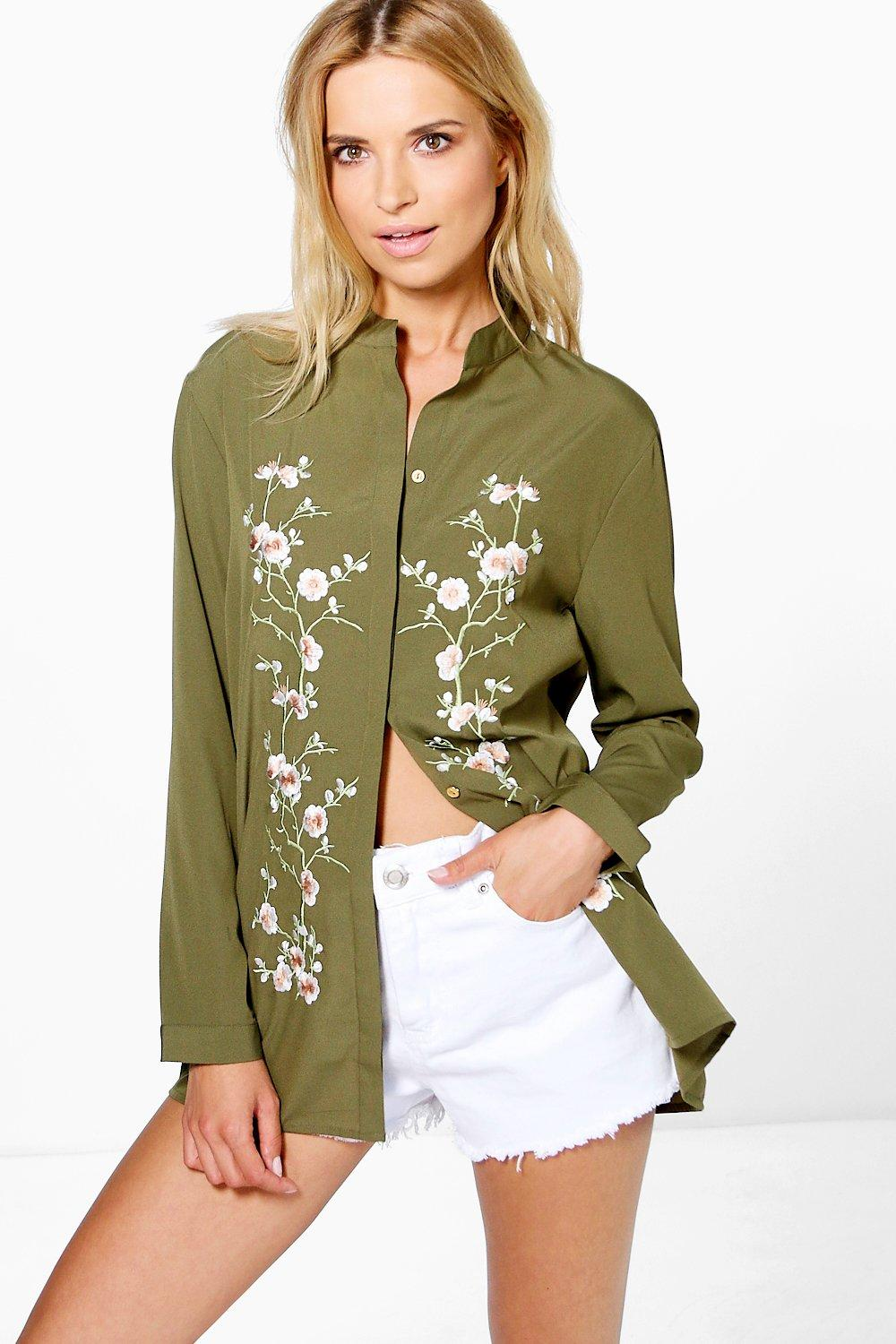 Boutique Embroidered Front Shirt  khaki