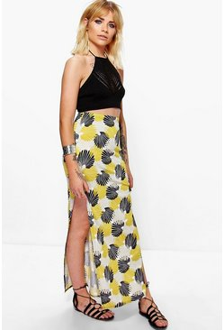 Lottie Printed Double Split Maxi Skirt