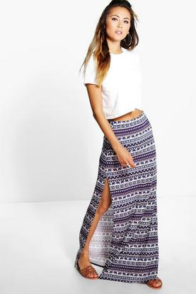 Liv Elephant Print Double Split Maxi Skirt