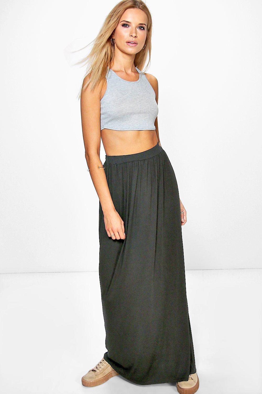 Side Split Floor Sweeping Maxi Skirt black