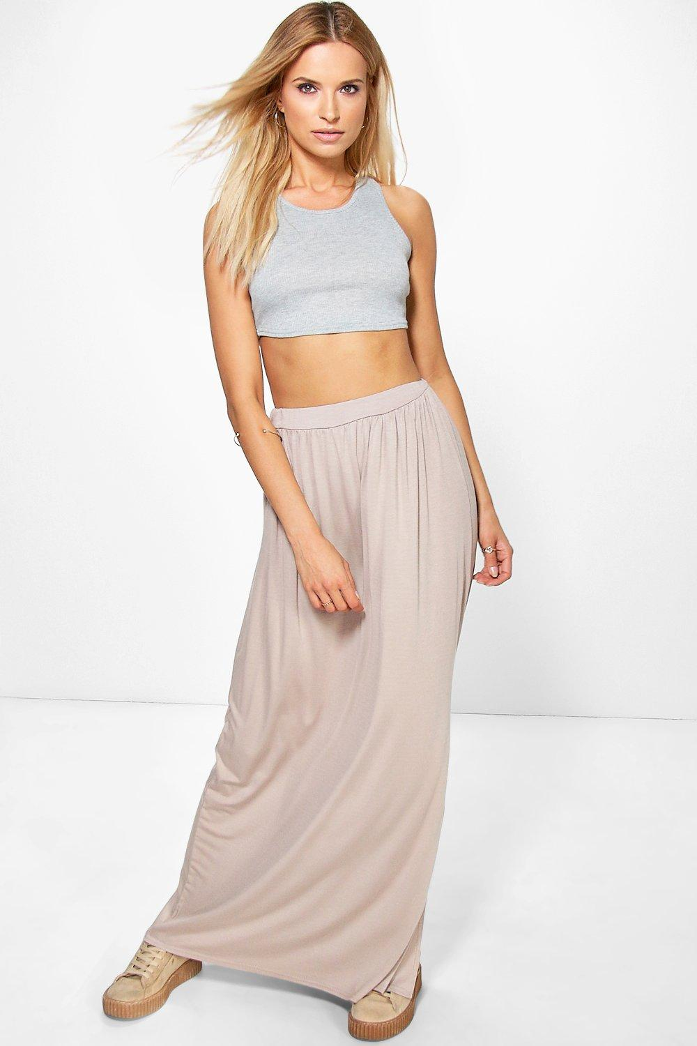 Side Split Floor Sweeping Maxi Skirt sand