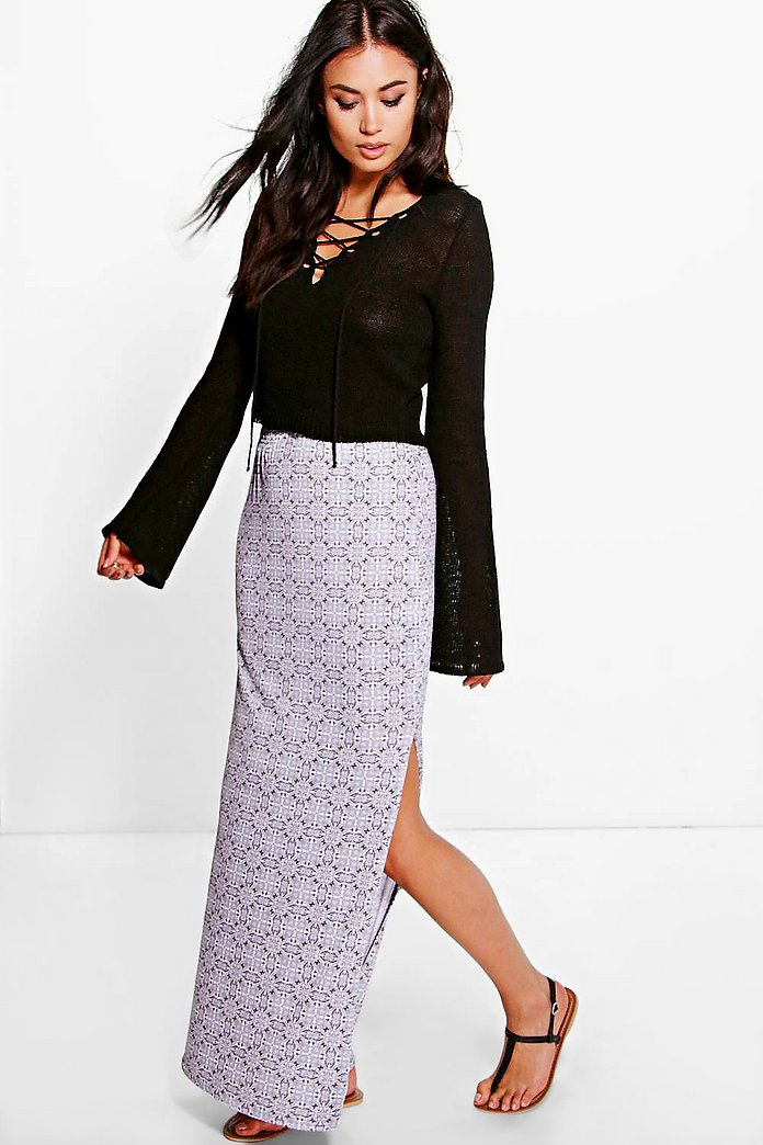 Priya Tile Print Split Side Maxi Skirt