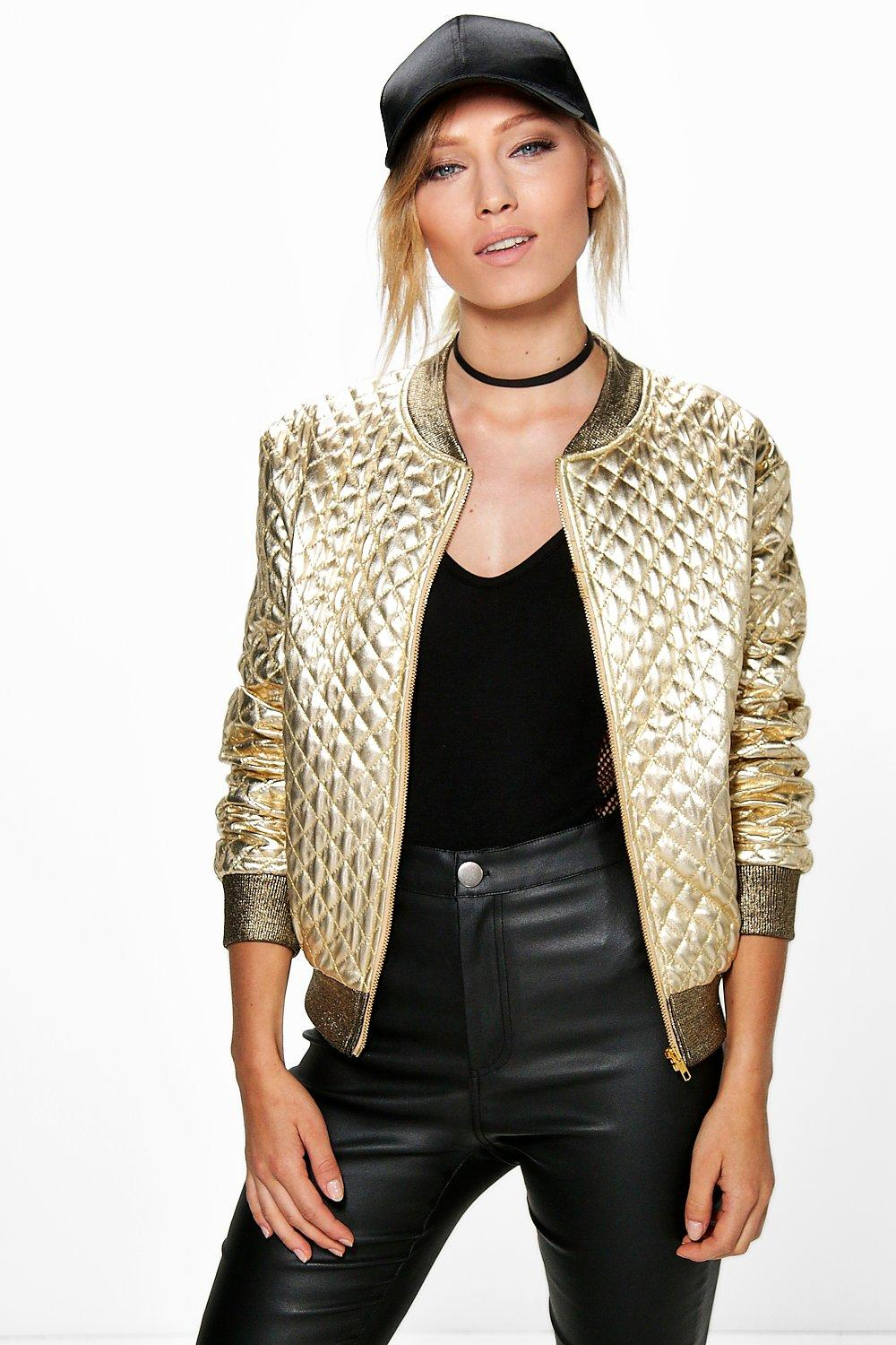 Evie Quilted Metallic Bomber
