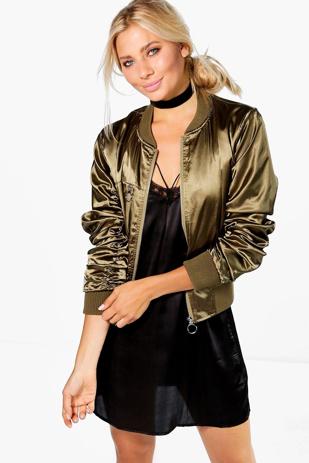 Boutique Jessica Crop Satin Bomber