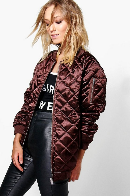 Boutique Lily Longline Quilted Satin Bomber