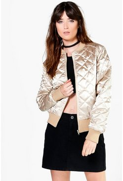 Olivia Quilted Satin Bomber