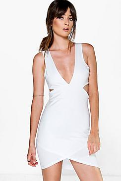 Yana Plunge Cut Out Detail Bodycon Dress