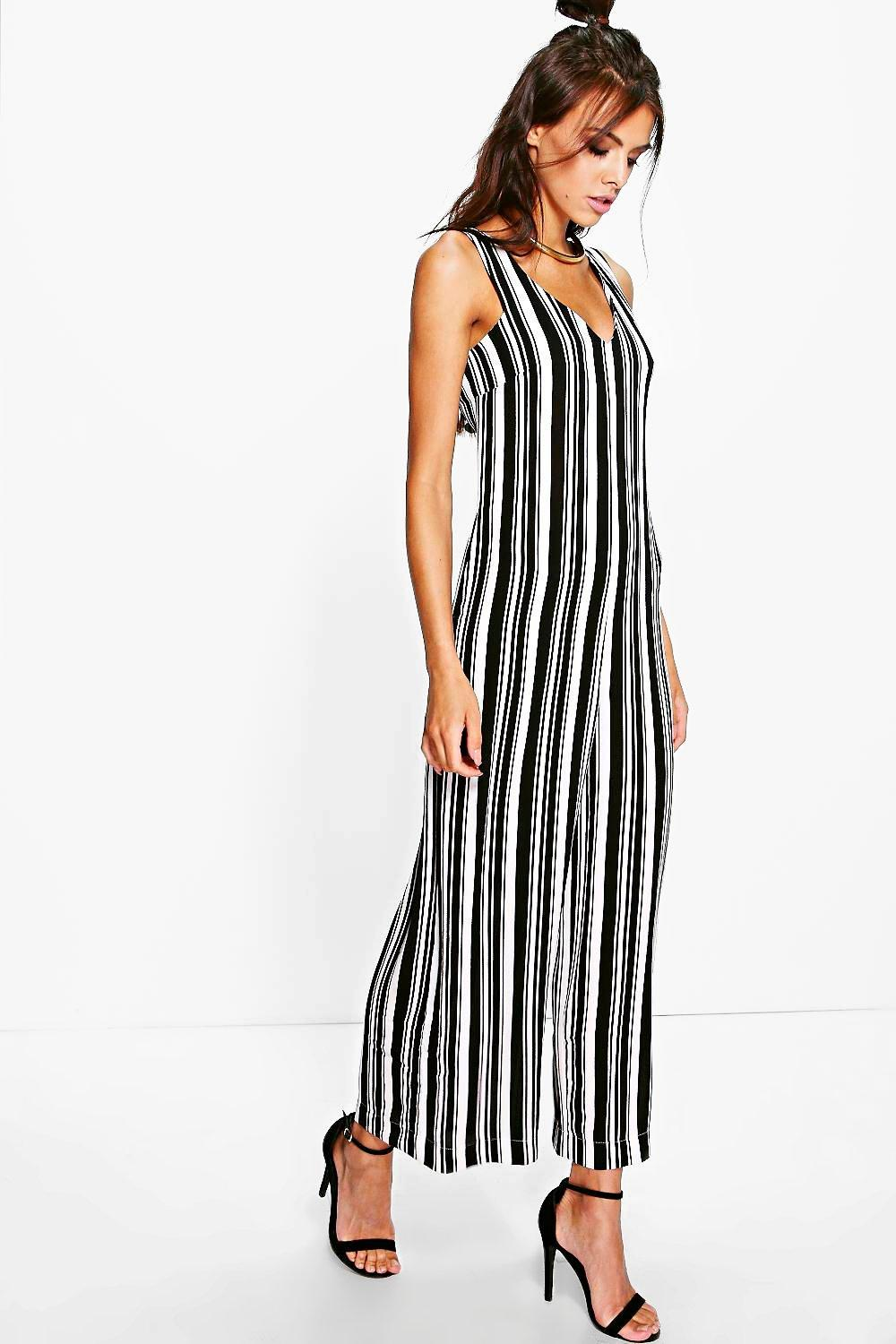Ava Striped Romper Style Boyfriend Jumpsuit