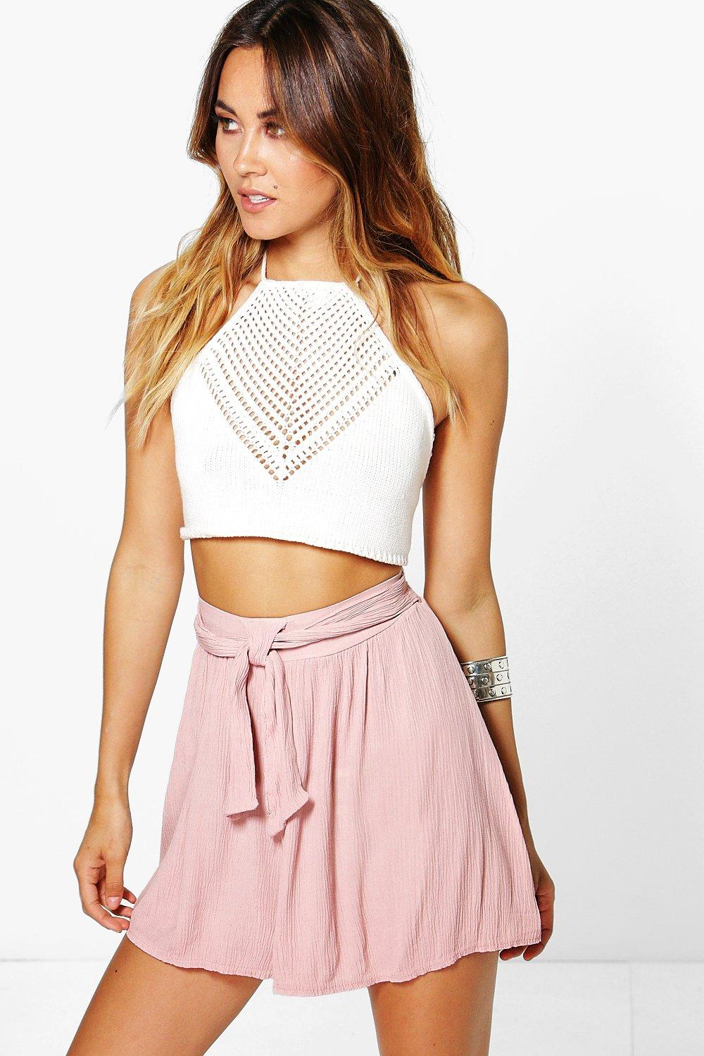 Jessica Belted Crinkle Shorts