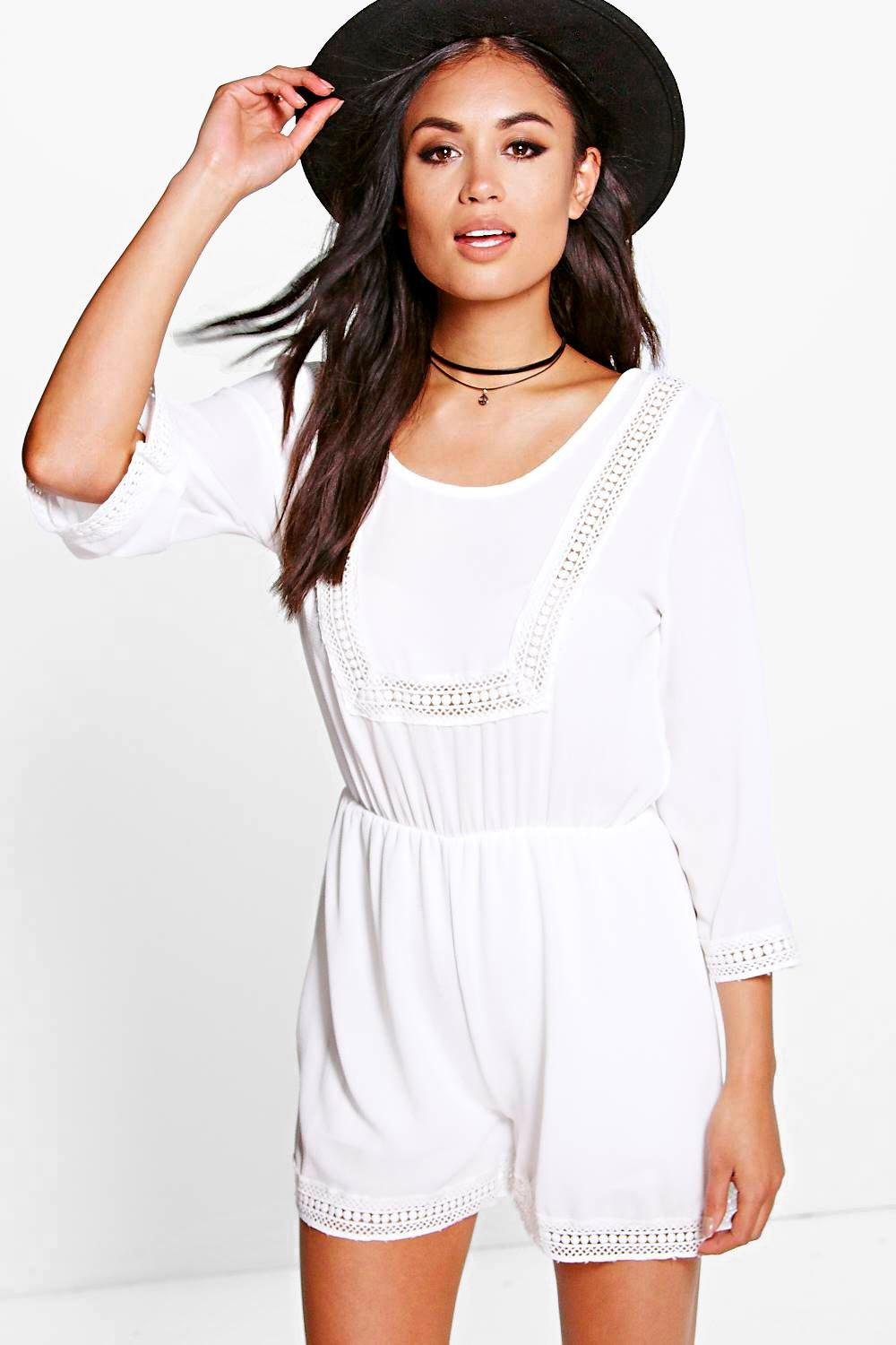 Ava Crochet Trim Wide Sleeve Playsuit