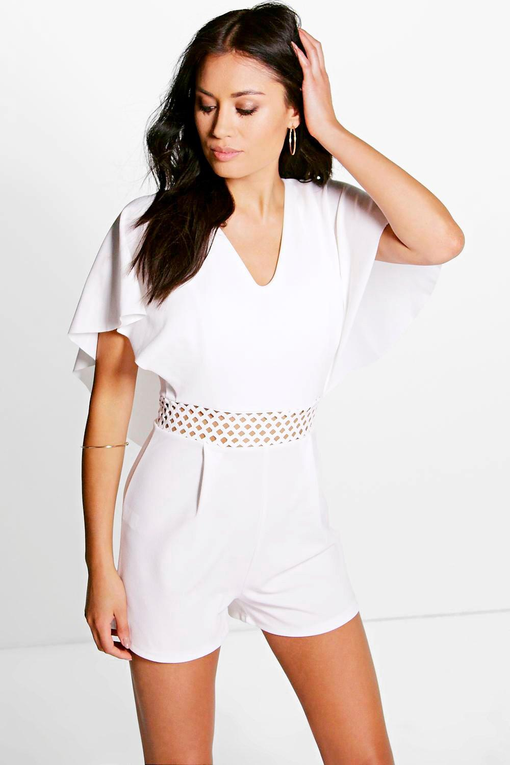 Crochet Insert Cape Back Playsuit ivory