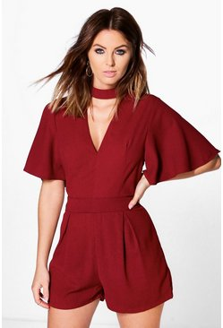 Ria Choker Style Woven Playsuit