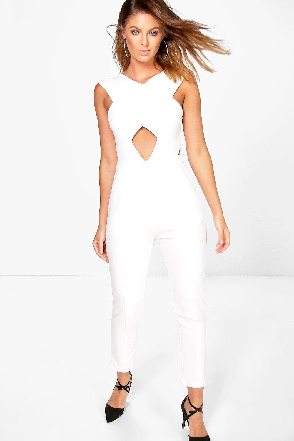 Cut Out Detail Structured Jumpsuit white