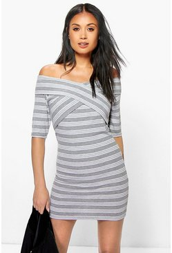 Kelly Off The Shoulder Stripe Bodycon Dress