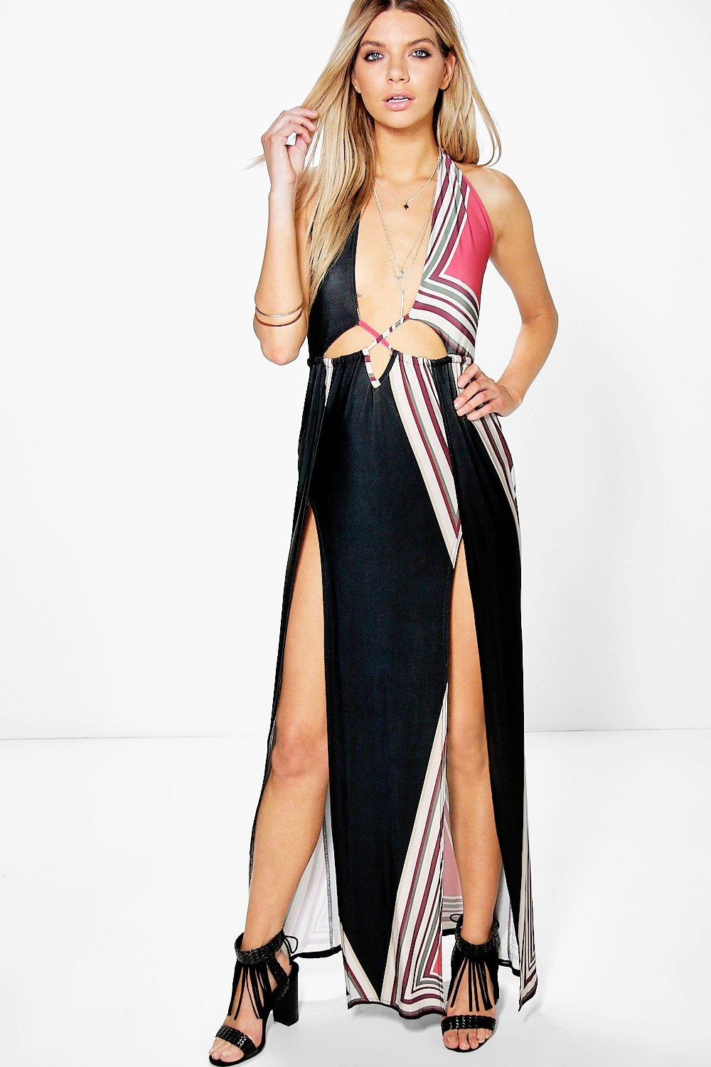 Tia Halterneck Cut Out Maxi Dress