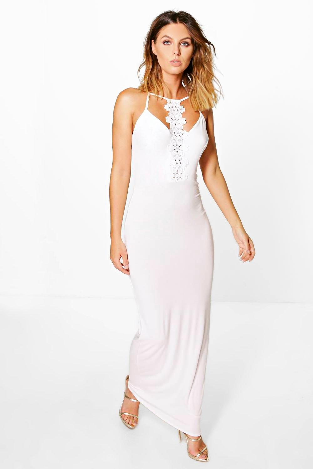 Hannah Lace Panel Strappy Maxi Dress