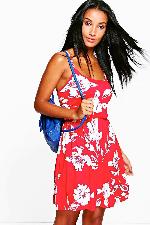 Floral Printed Skater Dress red