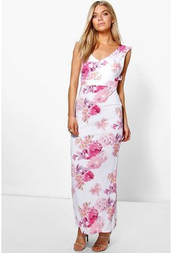 Amelia Ruffle Back Floral Maxi Dress