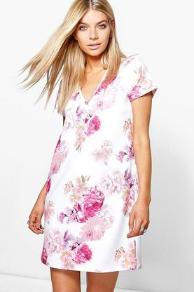 Julia Floral V Neck Shift Dress