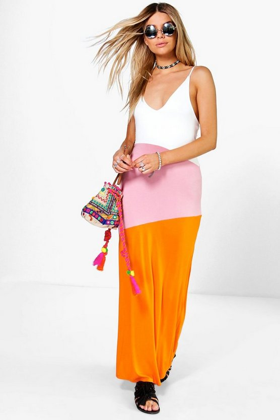 Colour Block Strappy Maxi Dress
