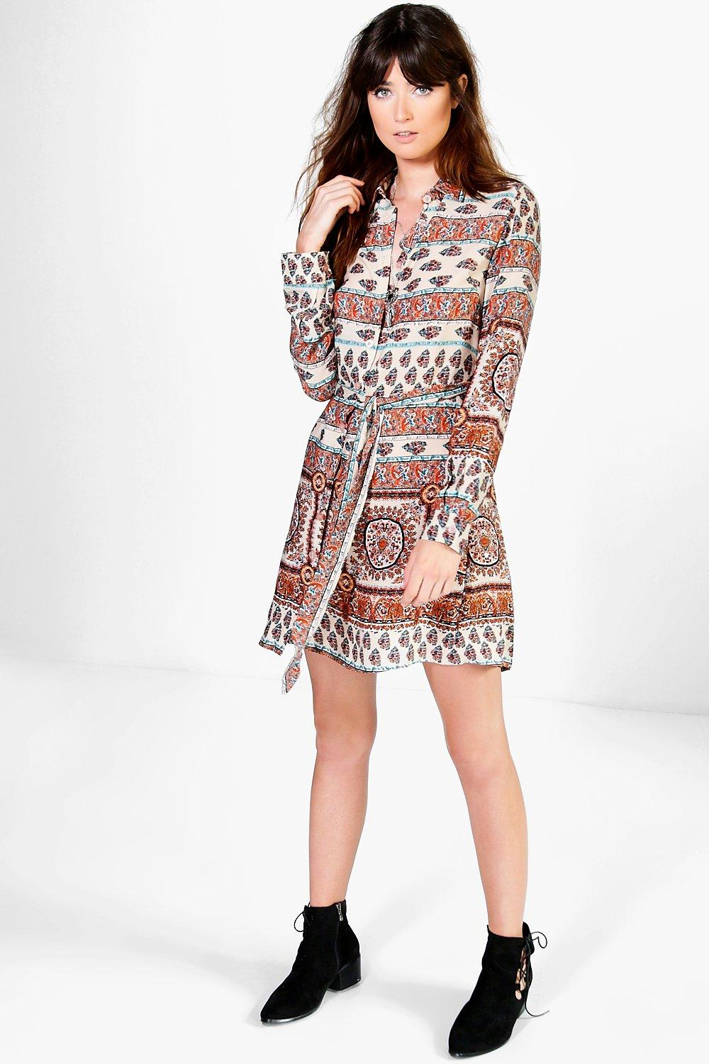 Natasha Paisley Tie Waist Shirt Dress