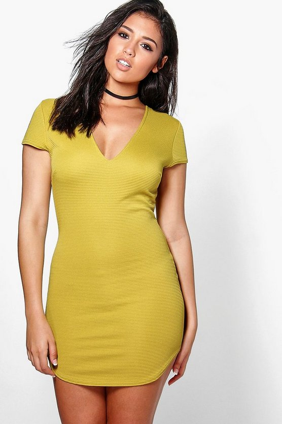 Lo Ribbed V Neck Curved Hem Bodycon Dress
