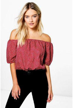 Vicky Spot Printed Off The Shoulder Top