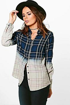 Rose Tie Dye Checked Shirt