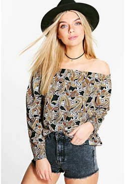 Megan Paisley Woven Off The Shoulder Top