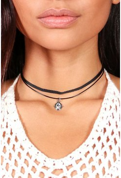 Clara Diamante Detail Double Choker