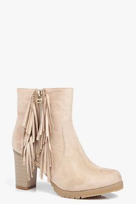 Freya Fringe Trim Heeled Ankle Boot