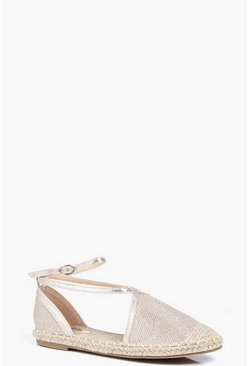 Evie Shimmer Espadrille With Ankle Wrap Strap