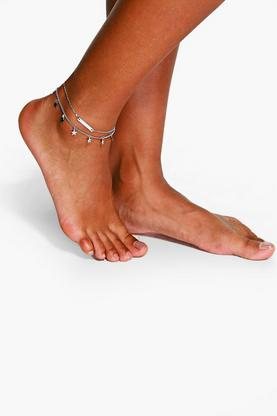 Zoe Double Layered Star And Bar Anklet
