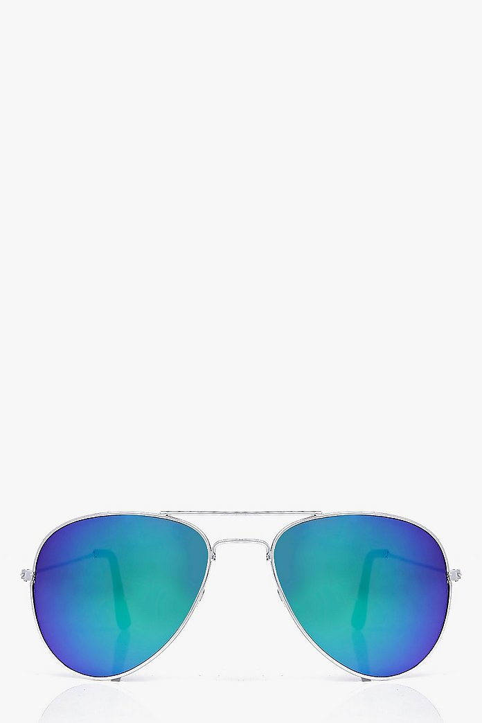 Zoe Mirrored Blue Lense Aviator Sunglasses