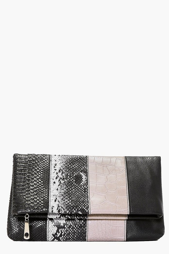 Lydia Colour Block Fold Over Clutch Bag