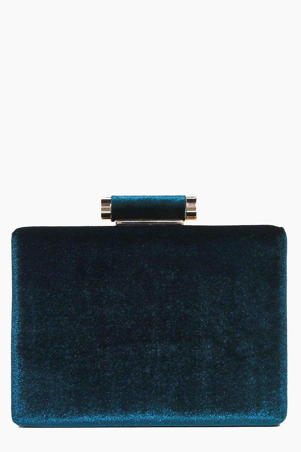 Retro Handbags, Purses, Wallets, Bags Daisy Velvet Box Clutch teal $30.00 AT vintagedancer.com