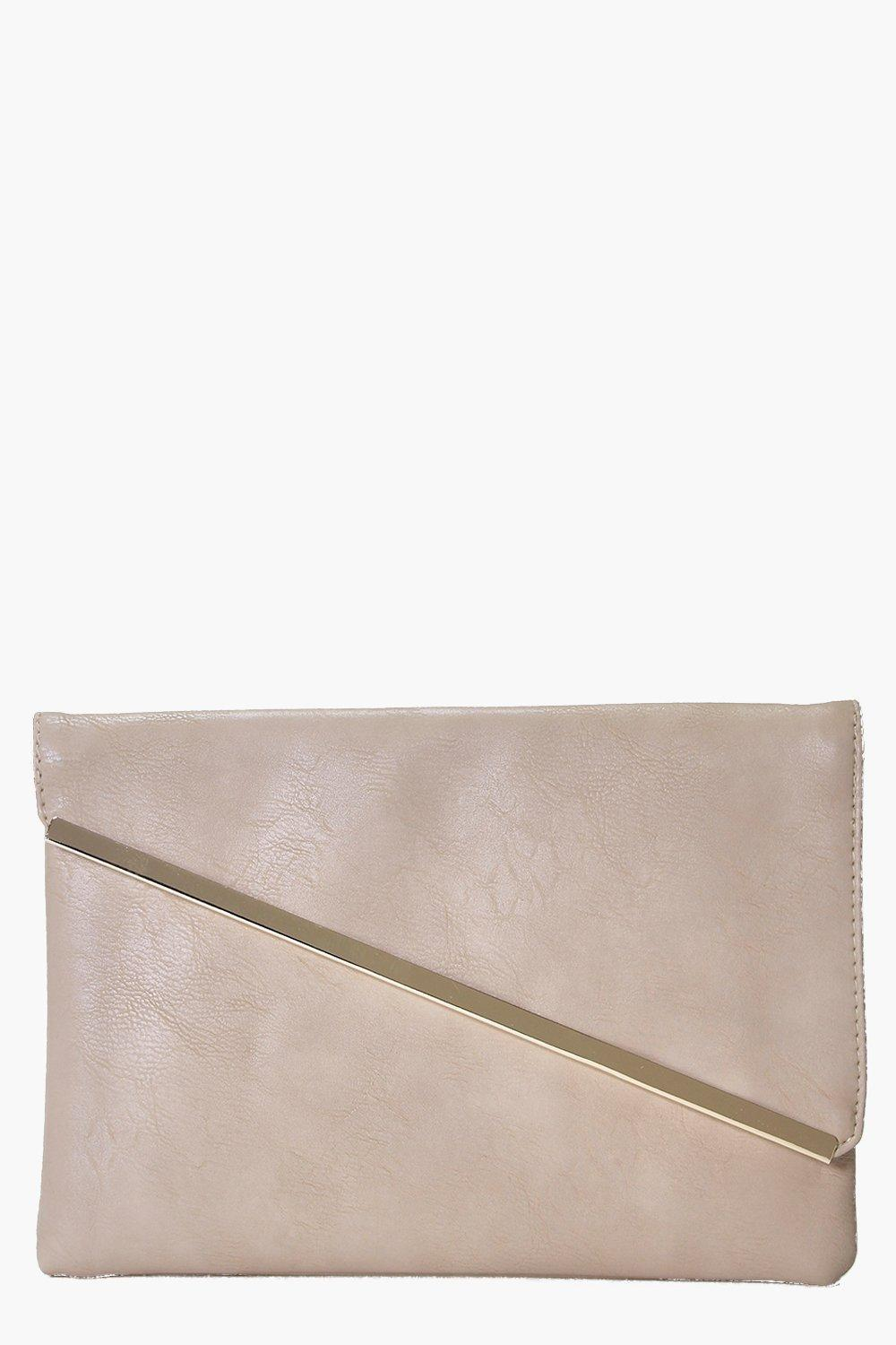 Amber Fold Over Metal Detail Clutch Bag