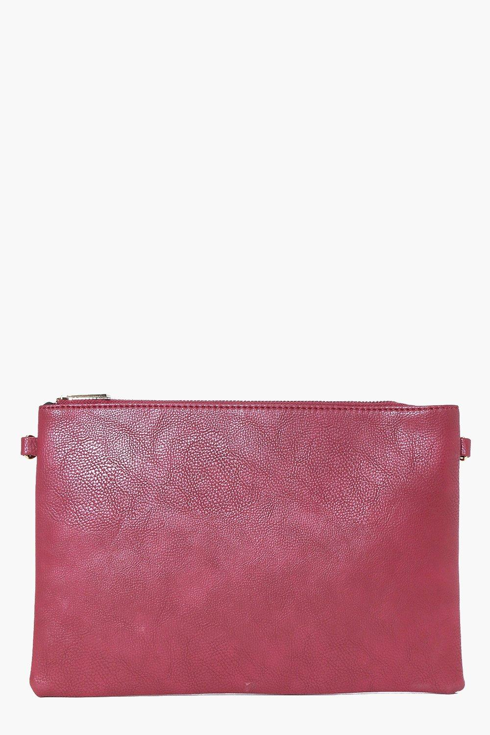 Zip Top Clutch Bag berry