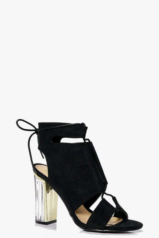Paige Clear Heel Lace Up Shoe Boot