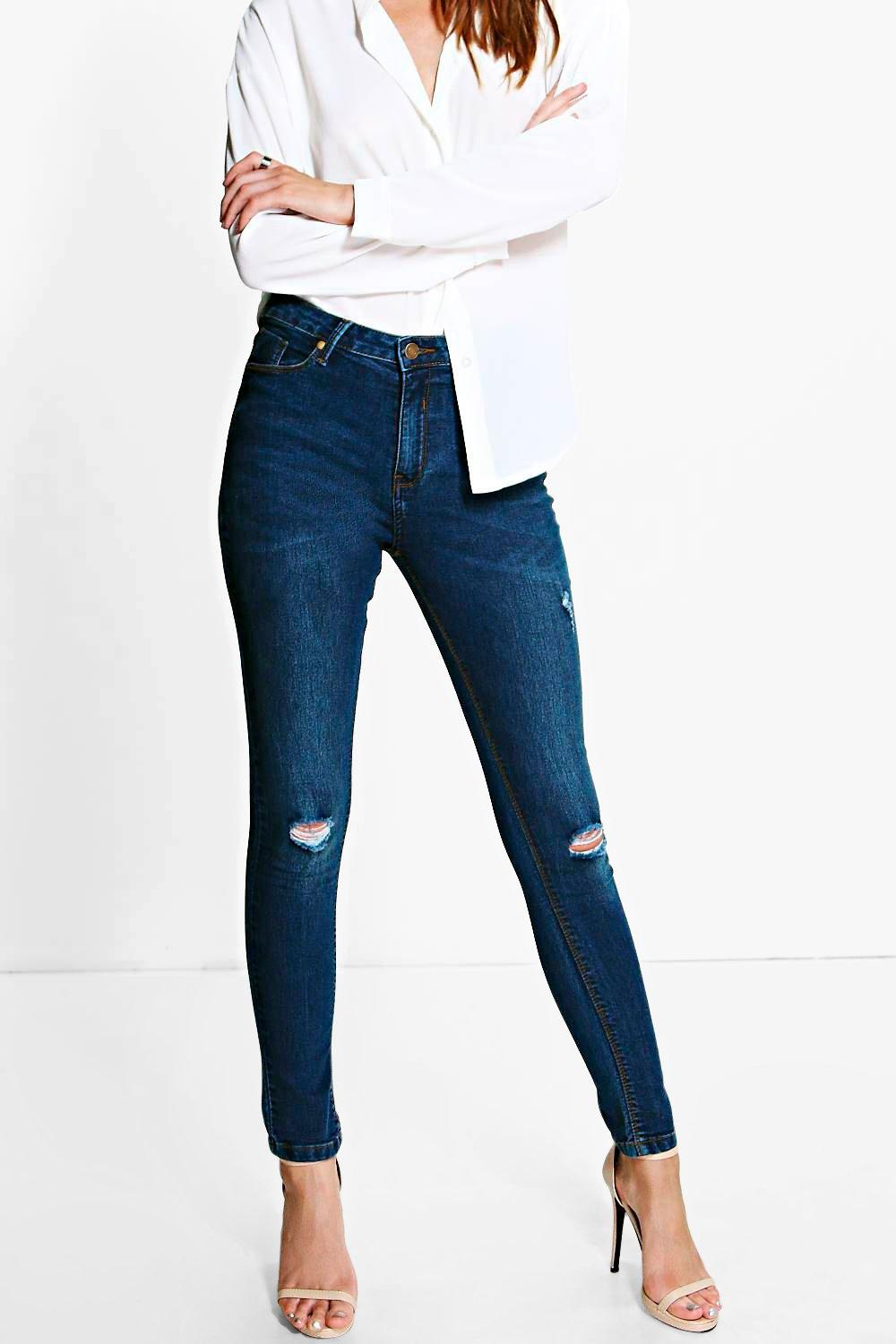 Mid Rise Ripped Knee Skinny Jeans dark blue