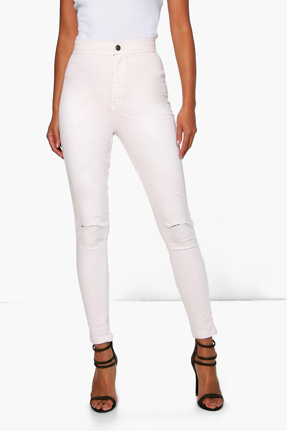 Lara High Rise Knee Rip Tube Jeans