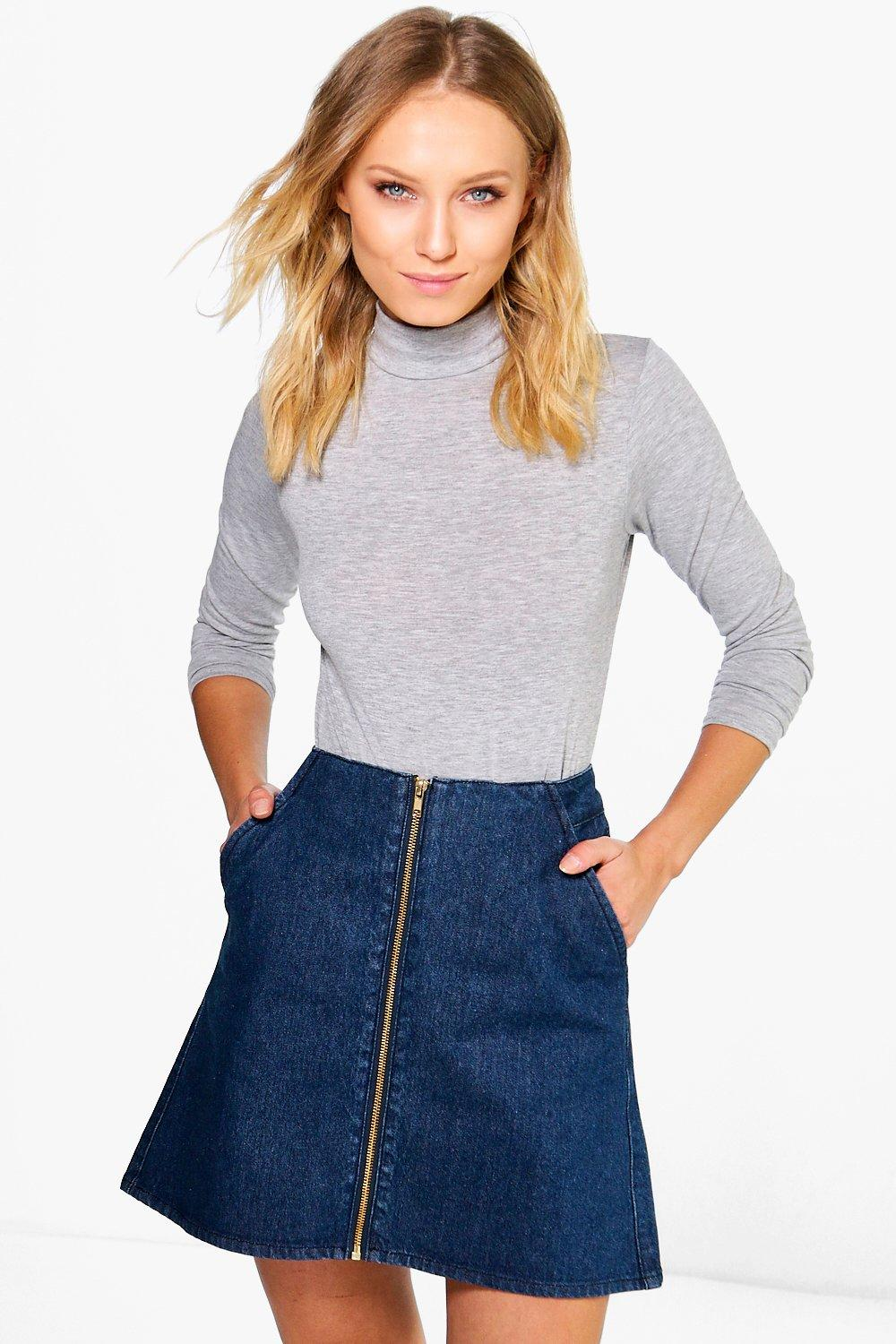 Jessica Zip Through A-line Denim Mini Skirt